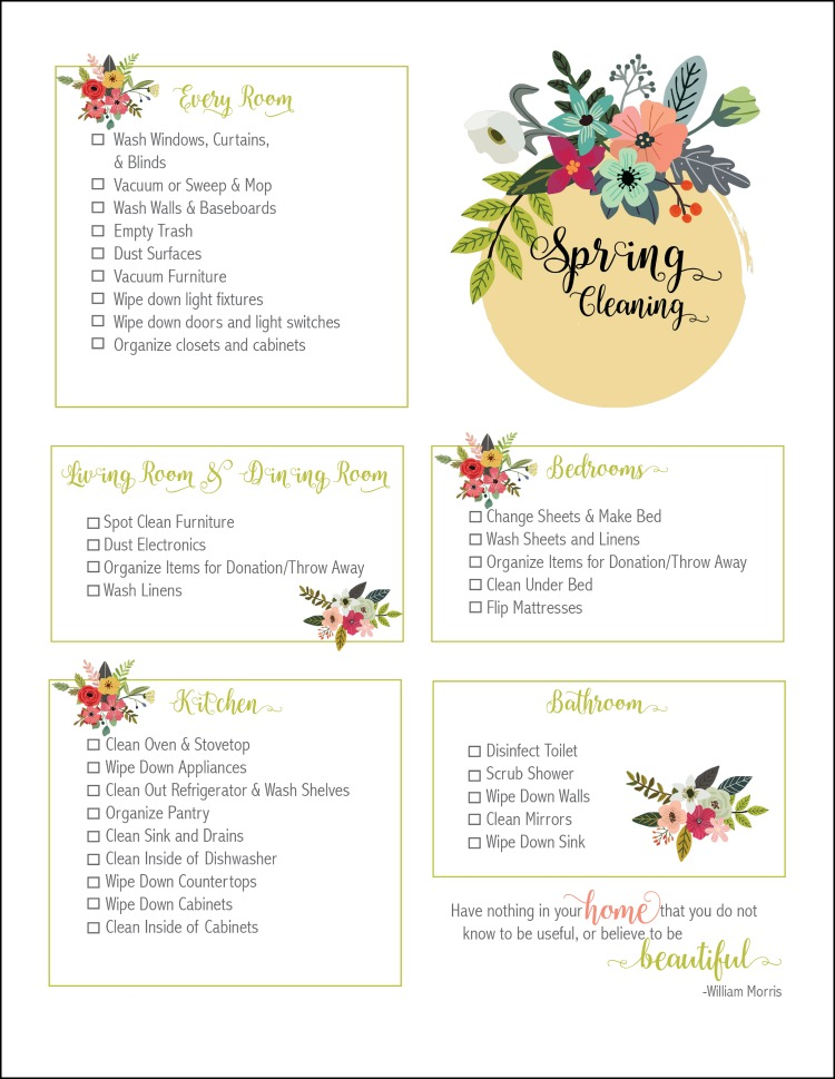 It is a picture of Crazy Printable Spring Cleaning Checklist