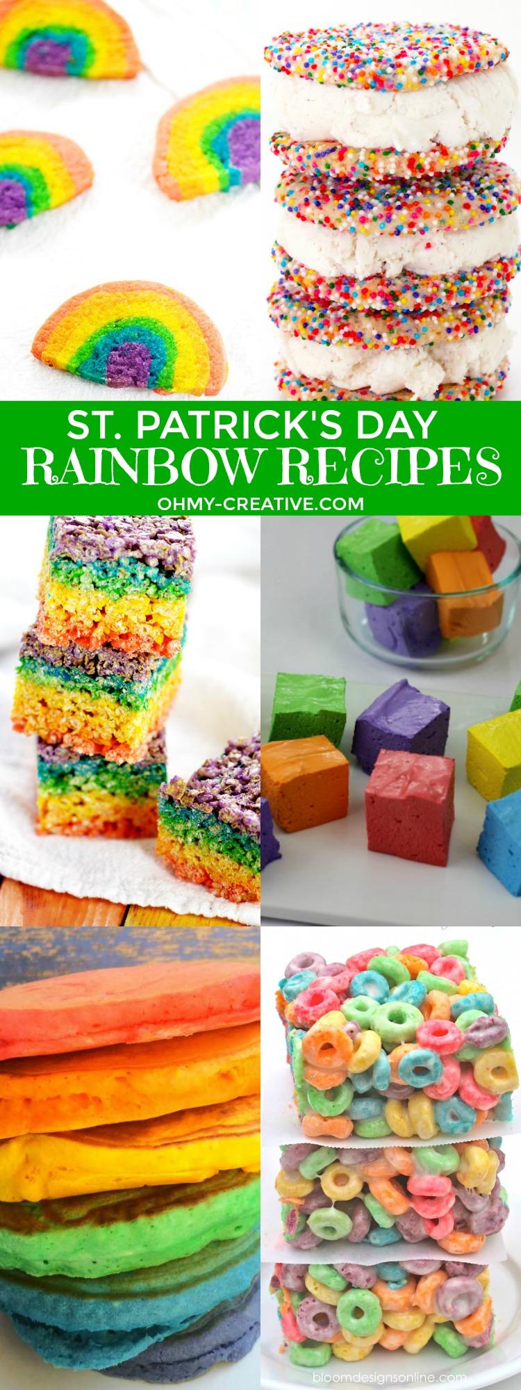 How to make rainbow food with these Rad Rainbow Recipes! Fun for Rainbow Party Themes or St. Patrick's Day | OHMY-CREATIVE.COM | Rice Krispie Treats | Homemade Marshmallows | Lucky Charms | Rainbow Pancakes | Rainbow Food | Rainbow Sprinkles