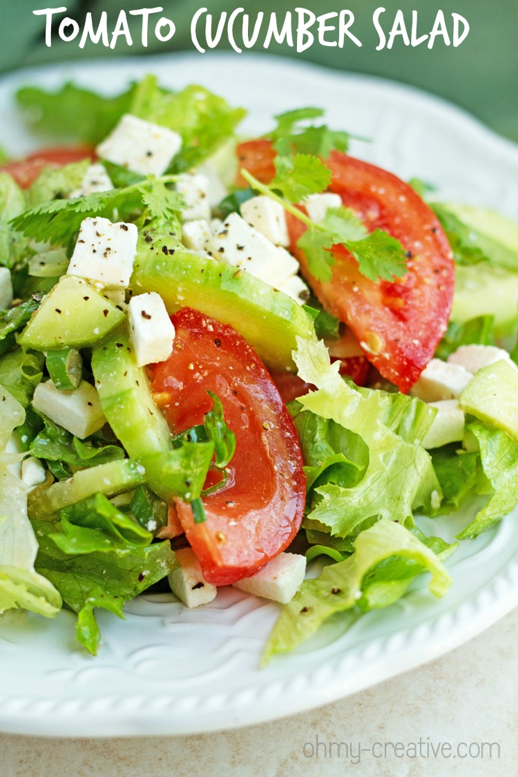 Charming Salad Ideas For Dinner Party Part - 10: Tomato And Cucumber Feta Salad - Easy And Healthy Cucumber Feta Salad Recipe  With Tomatoes,