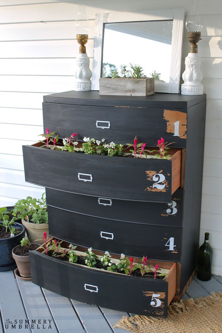 Repurposed diy dresser into a flower planter