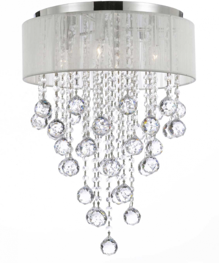 10 Stunning Crystal Chandelier Lights Oh My Creative : Flushmount 4 light Chrome and White Shade Crystal Chandelier Chandeliers Lighting e1465849158863 from www.ohmy-creative.com size 700 x 843 png 488kB