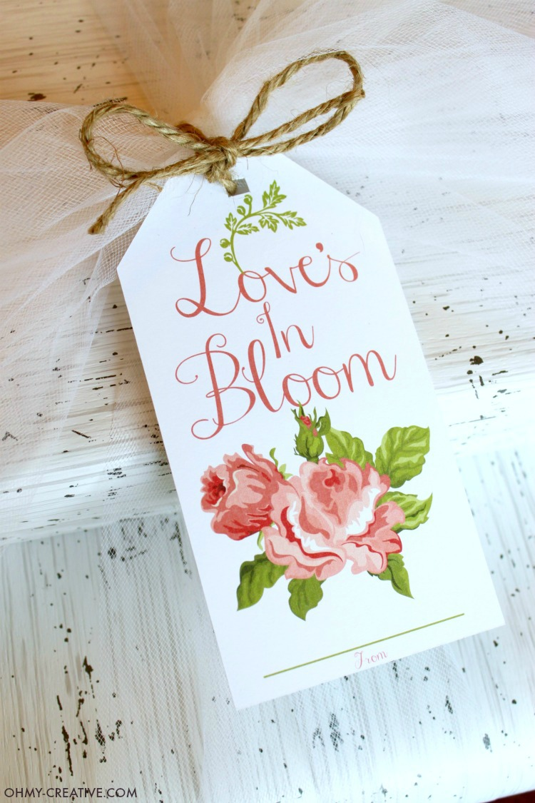 This Free Loves In Bloom Bridal Shower Printable Gift Tag Featuring Vintage Cabbage Roses Is Also
