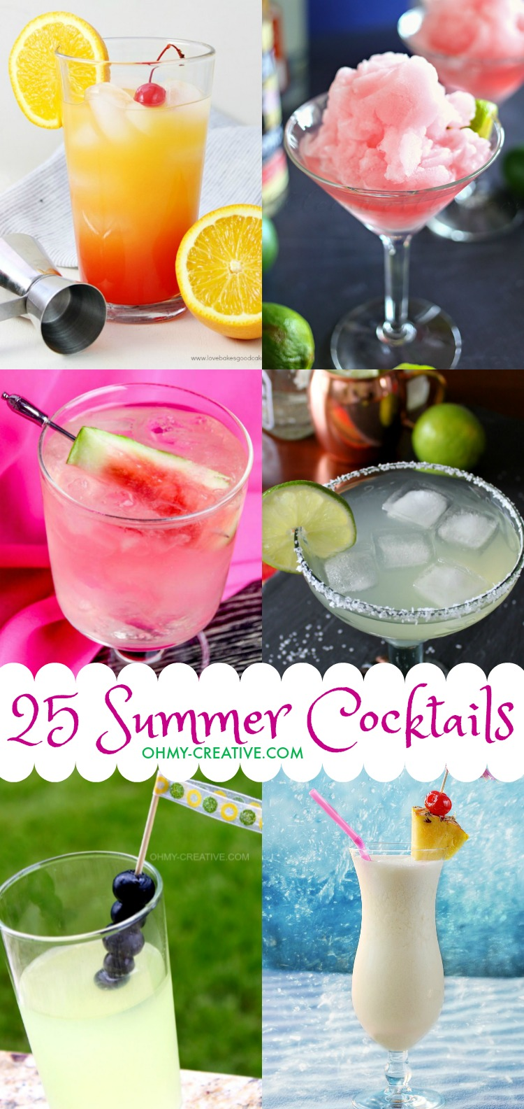 Cool down summers sizzling days with these 25 Fun Summer Cocktails! Perfect summer drinks for parties, picnics or sipping on the patio!