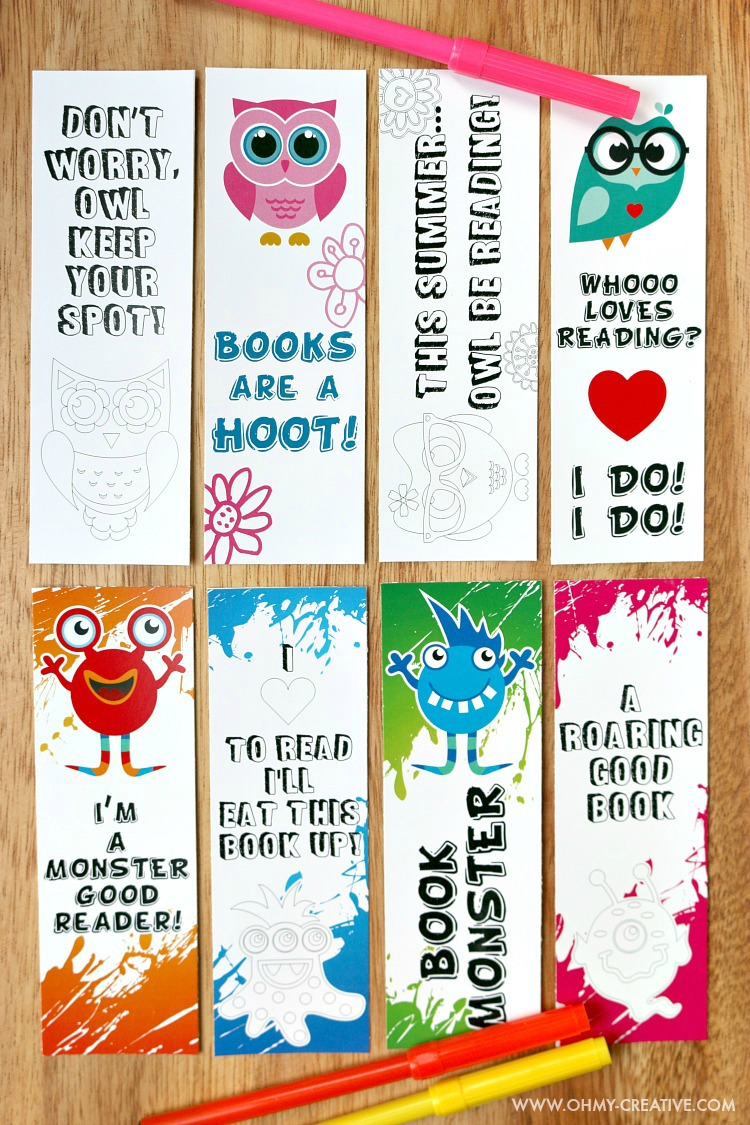 Printable Bookmark Coloring Pages for Kids Oh My Creative