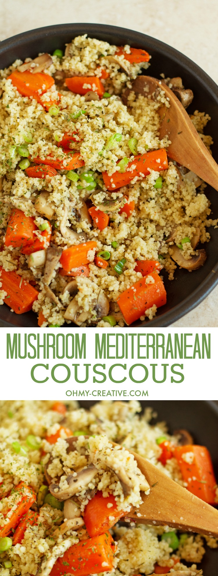 This Mushroom Mediterranean Couscous Recipe with carrots is sauteed with lemon juice and garlic. A meatless, quick and delicious dinner idea or side dish! Add it to your vegetarian recipes! Popular Pins by OHMY-CREATIVE.COM