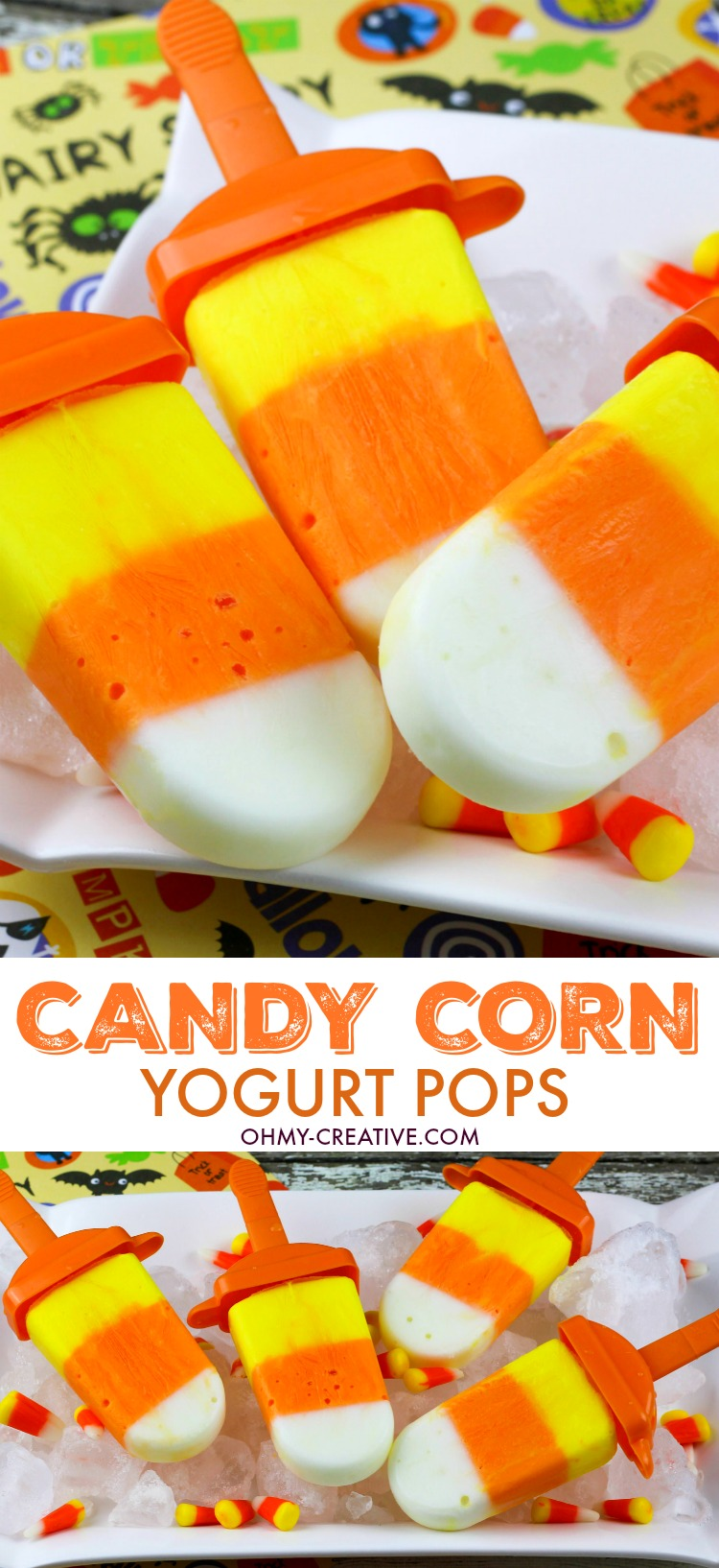 Yogurt Candy Corn Popsicle! Yellow, orange and white popsicles |  OHMY-CREATIVE.COM | Candy Corn Dessert Recipes | recipes using candy corn | Homemade candy corn | Halloween Treat | Halloween Dessert |  Ideas for candy corn