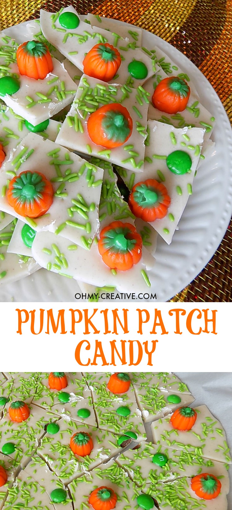 This Pumpkin Patch Candy Bark with Pumpkin Spice flavors is as cute as it is delicious. Perfect for any fall gathering, Halloween party or as a fun recipe for the kids to make! Popular pins by OHMY-CREATIVE.COM