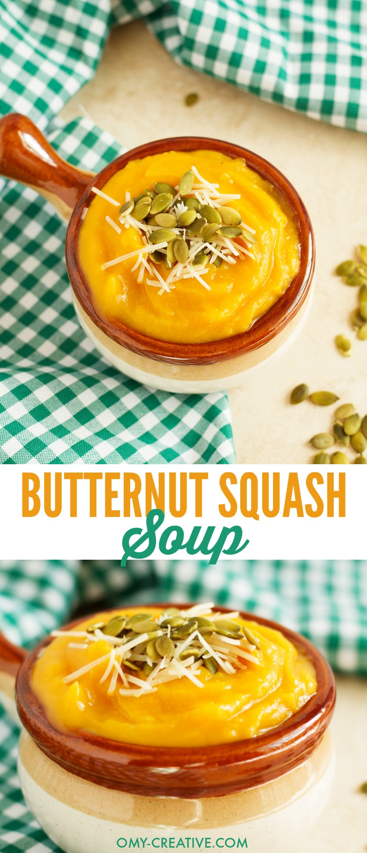 Hearty butternut squash soup recipe is perfect Fall soup recipe for cold winter months. Simple and easy to make soup with added cumin for additional flavor and topped with pepitas. OHMY-CREATIVE.COM