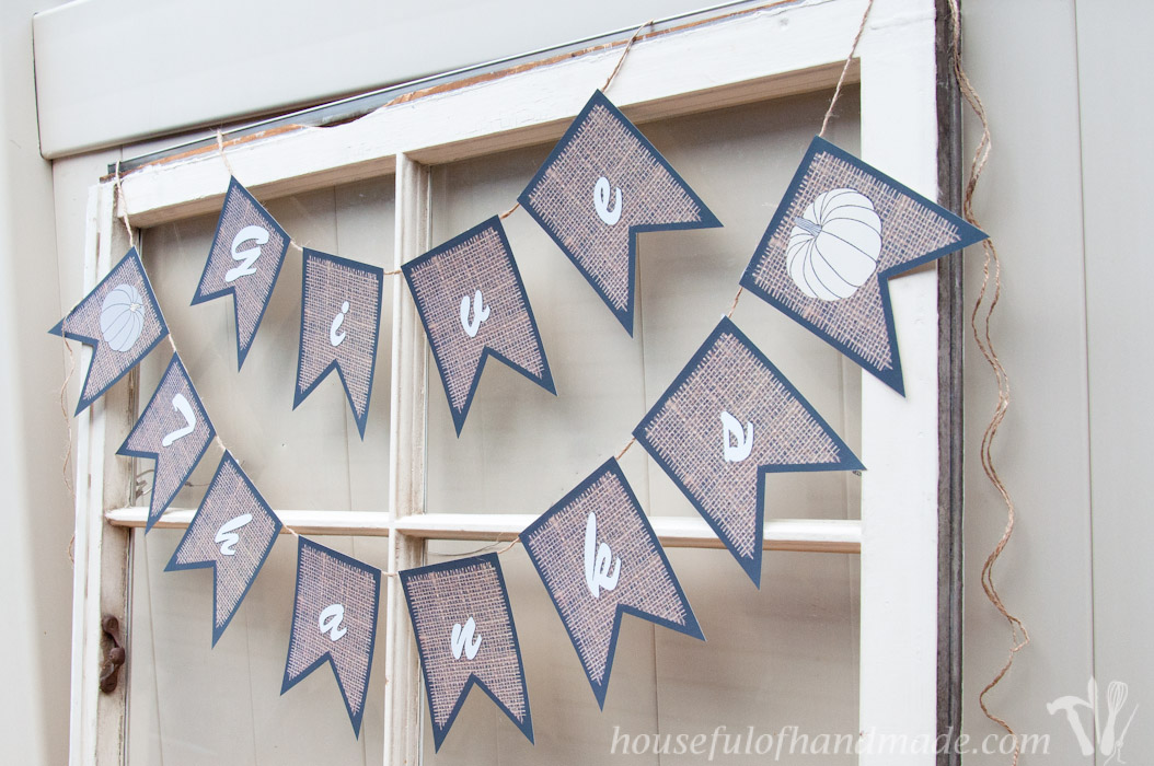 Decorate for Thanksgiving with these easy printable burlap banners from Housefulofhandmade.com