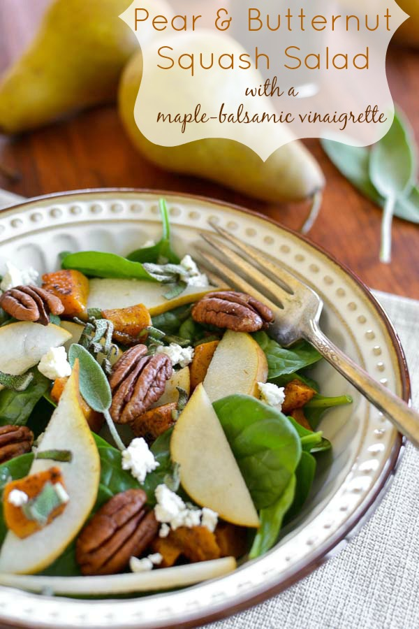 Pear and Butternut Squash Salad with Maple-Balsamic Vinaigrette - 25 Thanksgiving Side Dishes to complete your Thanksgiving dinner! Including Thanksgiving vegetable side dish recipes, traditional Thanksgiving recipes as well as new recipes to try! | OHMY-CREATIVE.COM