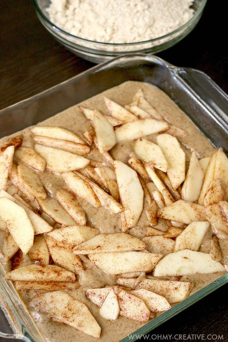 Cinnamon apples in a cake batter