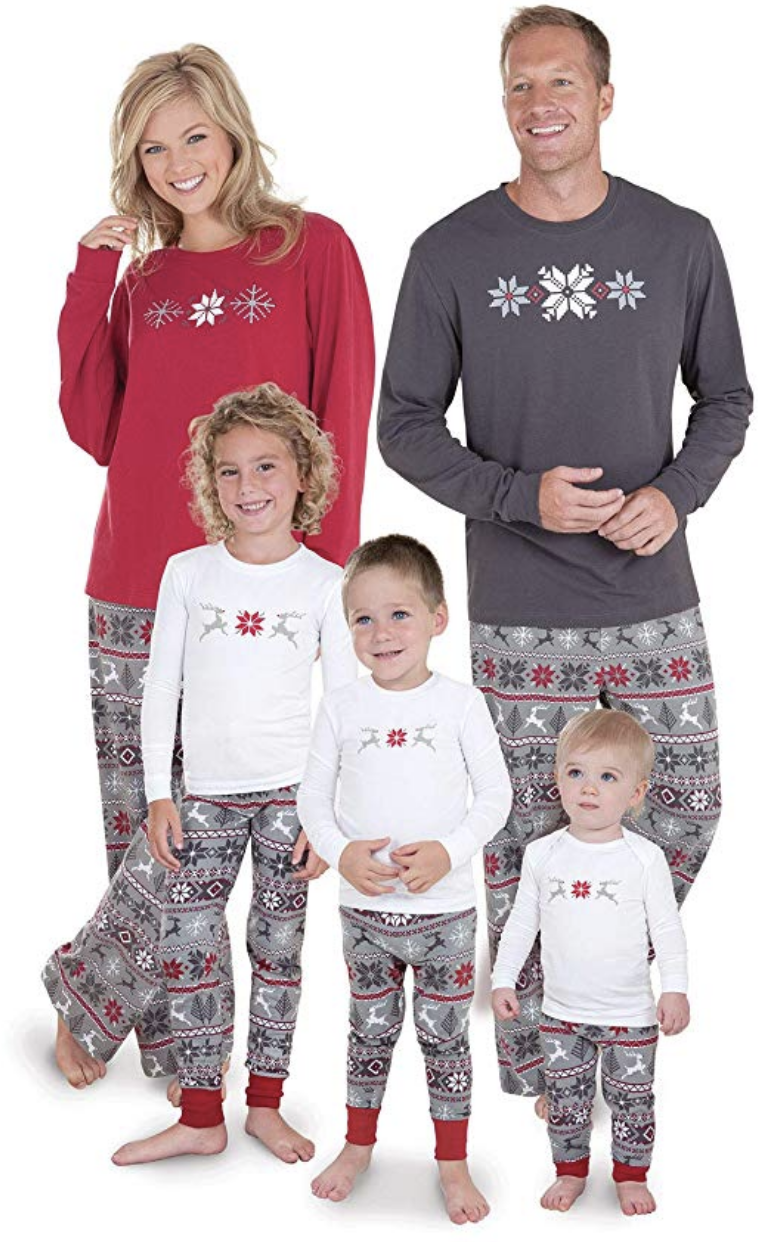 These cozy Nordic holiday pajamas are ideal winter sleepwear for the whole family.