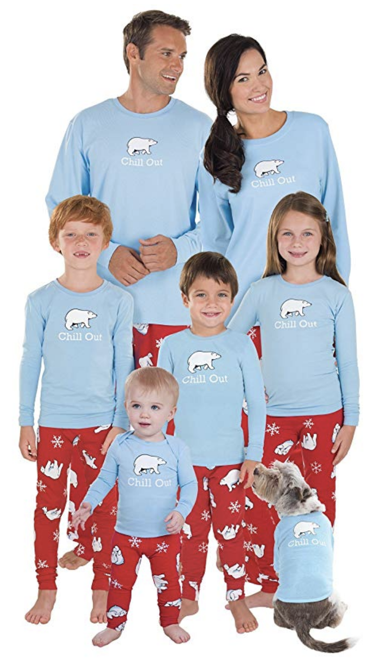 Chill out with your family in these fun blue matching pajama sets that are perfect for Christmas.