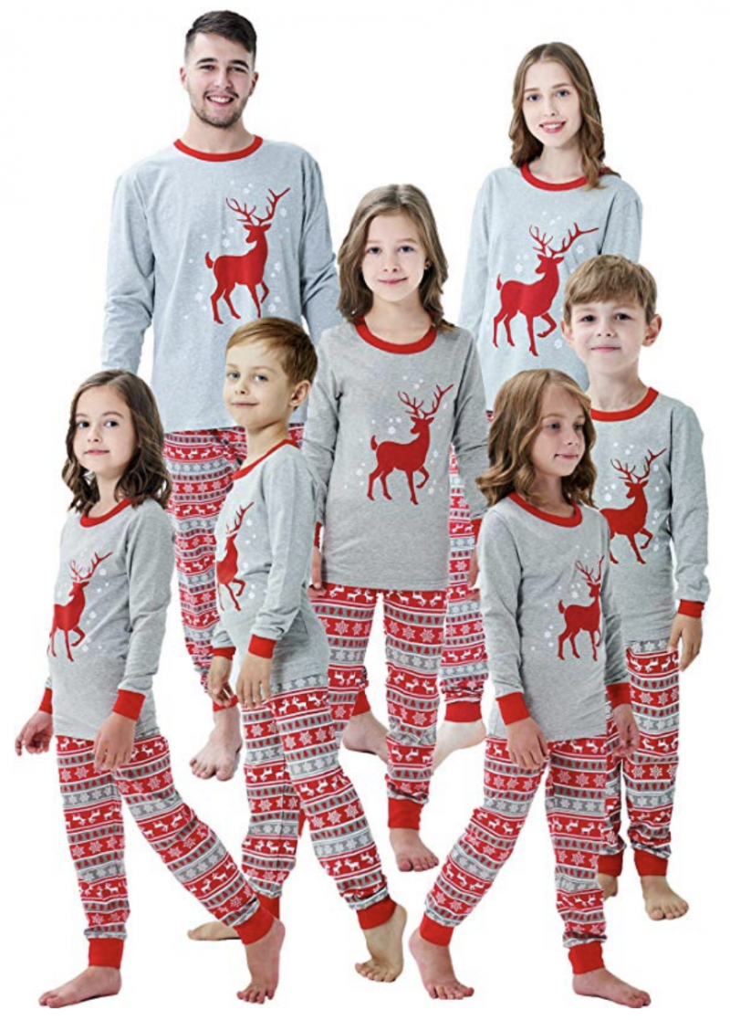 These matching Reindeer family pajamas are perfect for all winter long!