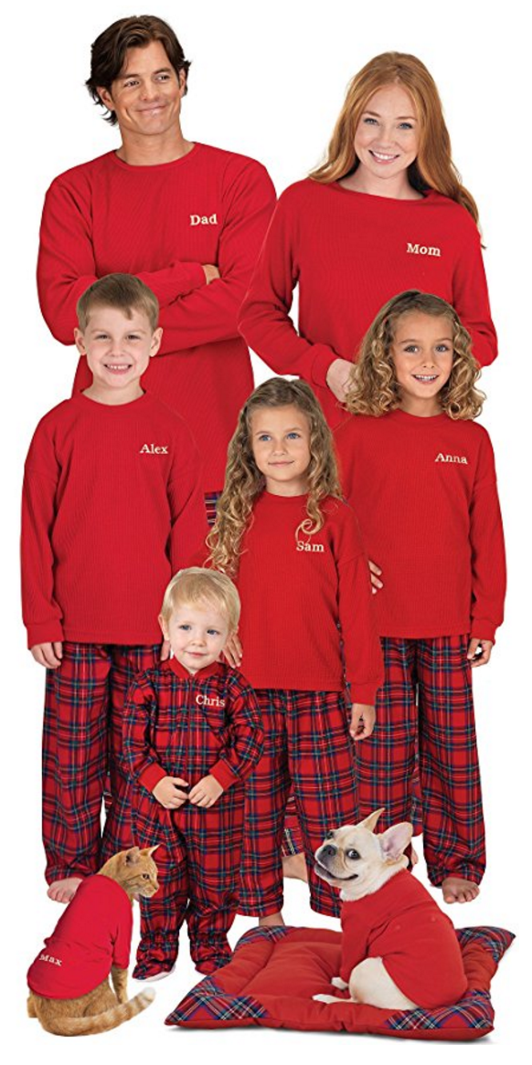 These matching plaid Christmas pajamas are perfect for everyone in your family.