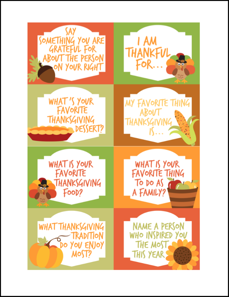 Thanksgiving conversation starters free printables oh my for What do you eat on thanksgiving list