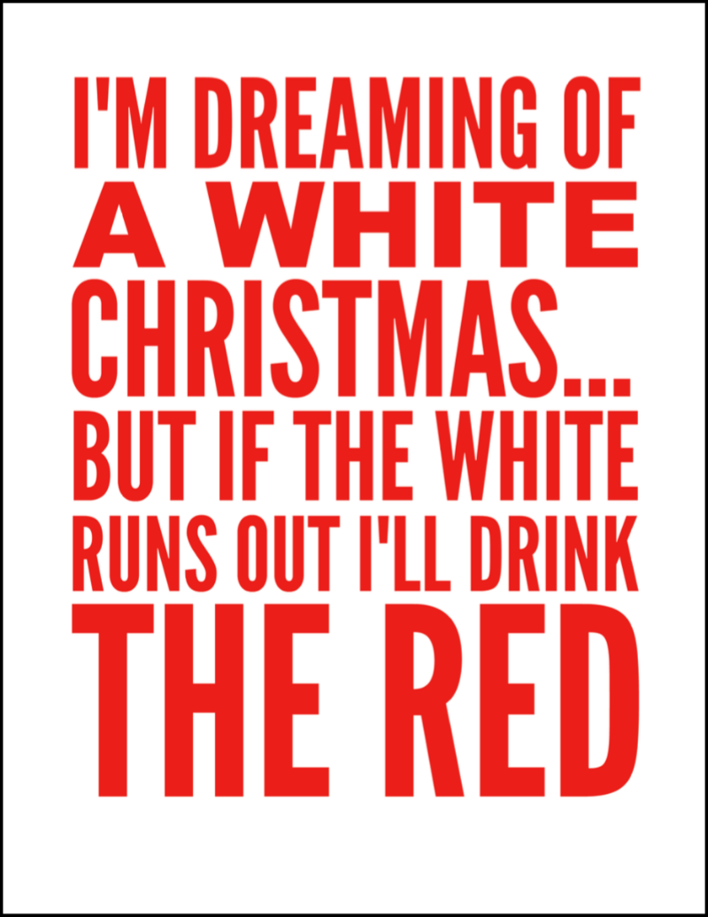 I'm Dreaming Of A White Christmas Wine Printable Sign - Oh My Creative