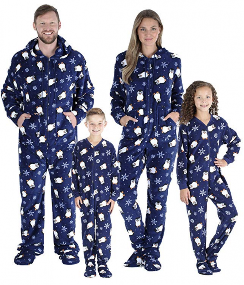 Looking for best family Christmas pajamas? Look no further than these hooded onesies with feet!
