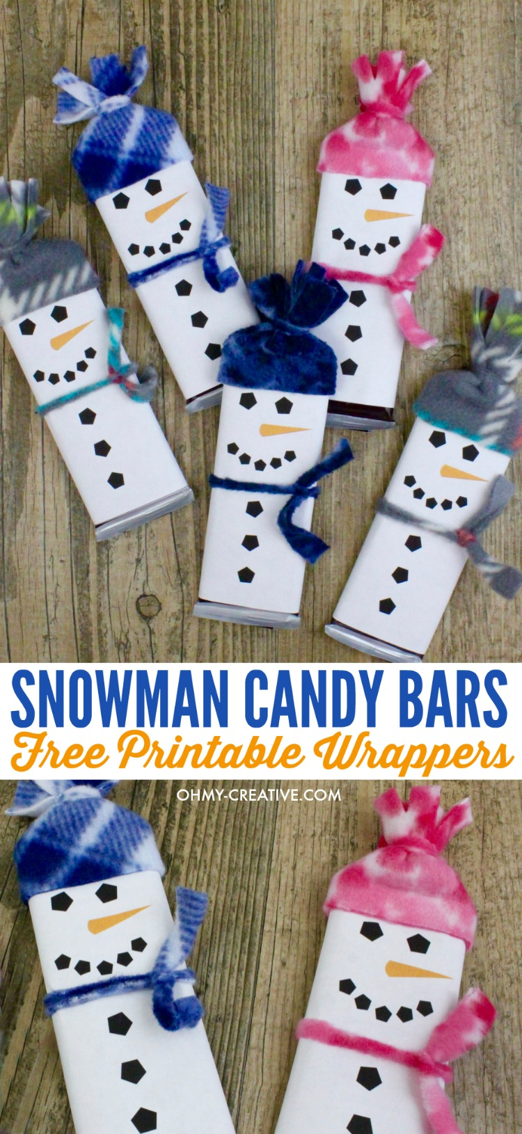 snowman free printable candy bar wrapper template oh my creative