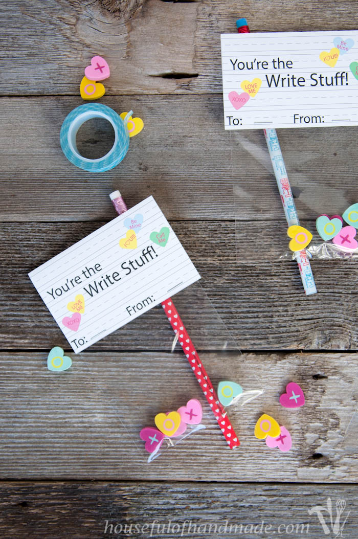 Free printable pencil and eraser valentines