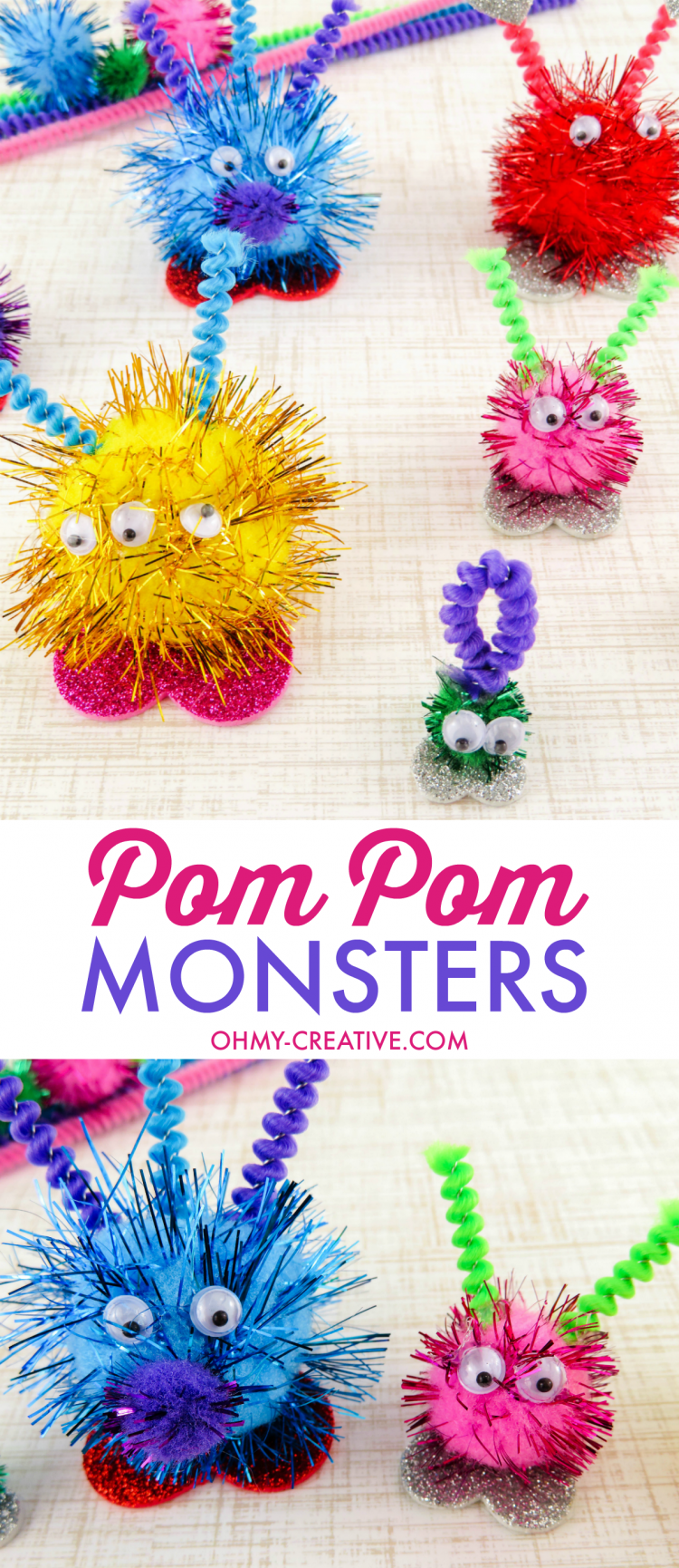 These Pom Pom Monsters are and easy kids craft! | OHMY-CREATIVE.COM | Valentine's Day Craft | Valentine Pom Pom Monsters | pom pom craft | preschool craft | kindergarten craft