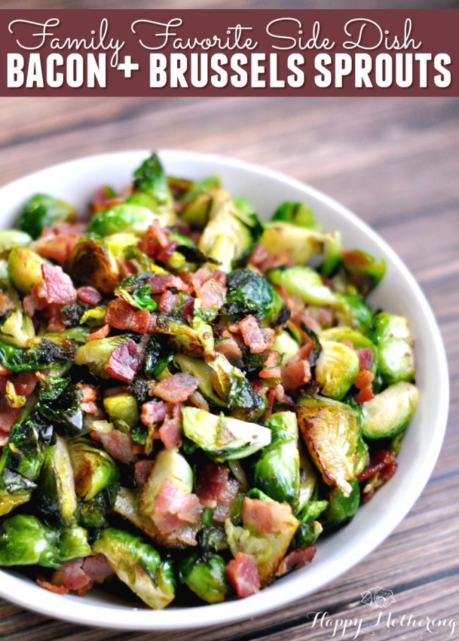 Bacon Brussels Sprouts Side Dish | 30 Graduation Party Food Ideas | OHMY-CREATIVE.COM