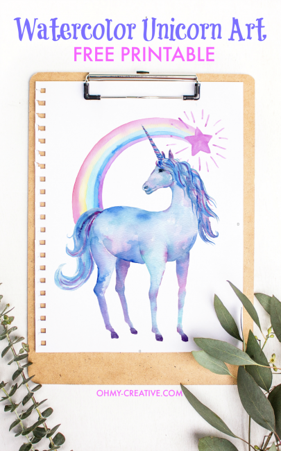 Free Printable Watercolor Unicorn Pictures - Oh My Creative