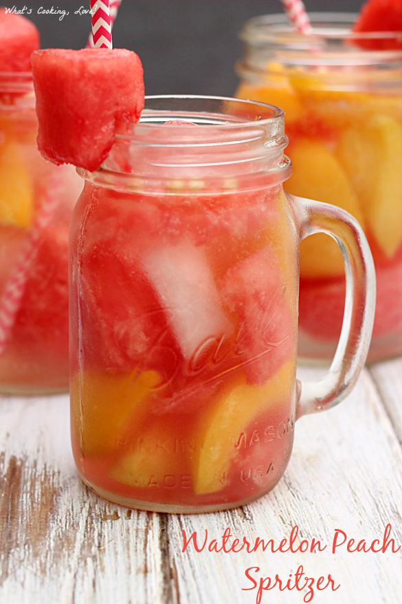 Watermelon Peach Spritzer | 30 Graduation Party Food Ideas | OHMY-CREATIVE.COM