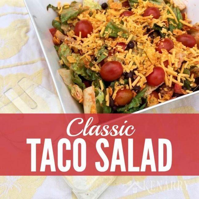 Classic Taco Salad Recipe | 30 Graduation Party Food Ideas | OHMY-CREATIVE.COM