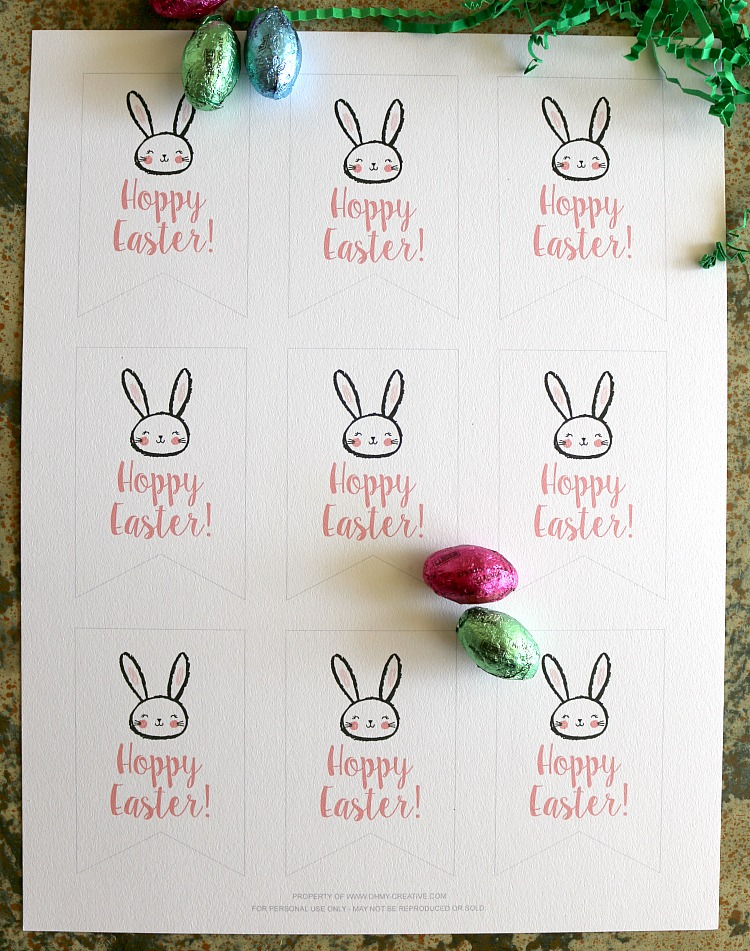 Free Printable Hoppy Easter Gift Tags | OHMY-CREATIVE.COM | Easter Printable | Easter Treat | Gift Tag | Easter Gift | Happy Easter | Bunny Printable | Classroom Treat | Party Favor | Easter Favor | Printable | Free Printable