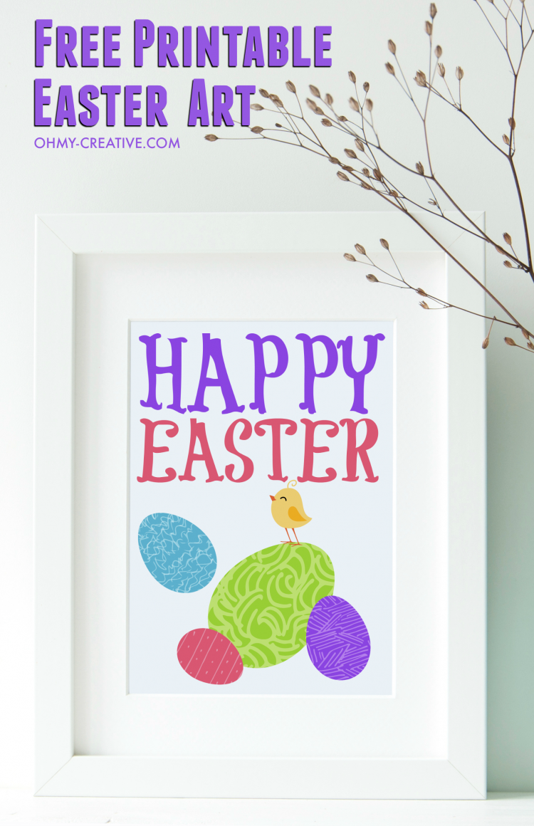 Easter Free Printable Art OHMY-CREATIVE.COM | Easter Chick | Easter Graphic | Easter Clip Art | Easter Egg | Happy Easter | Easter Decoration