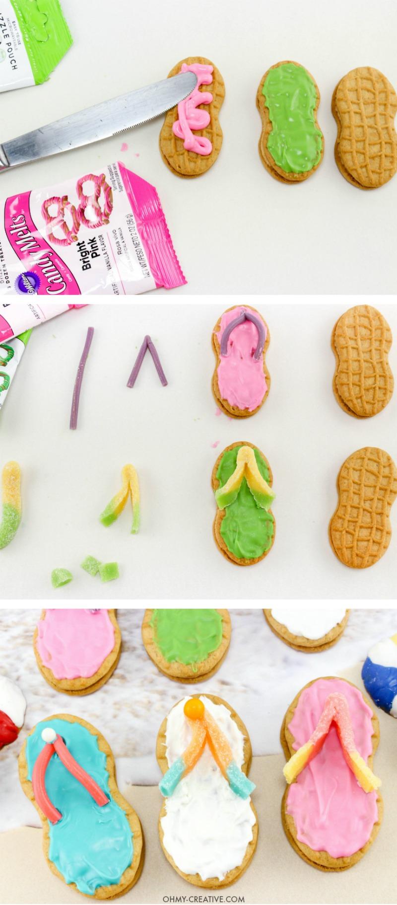 How to make Nutter Butter Flip Flop Cookies | Summer Desserts | Beach Party Cookies | Beach Theme Party Desserts | Pool Party Desserts | Nutter Butter Cookies | Luau Party | Easy Flip Flop Cookies | Sweets
