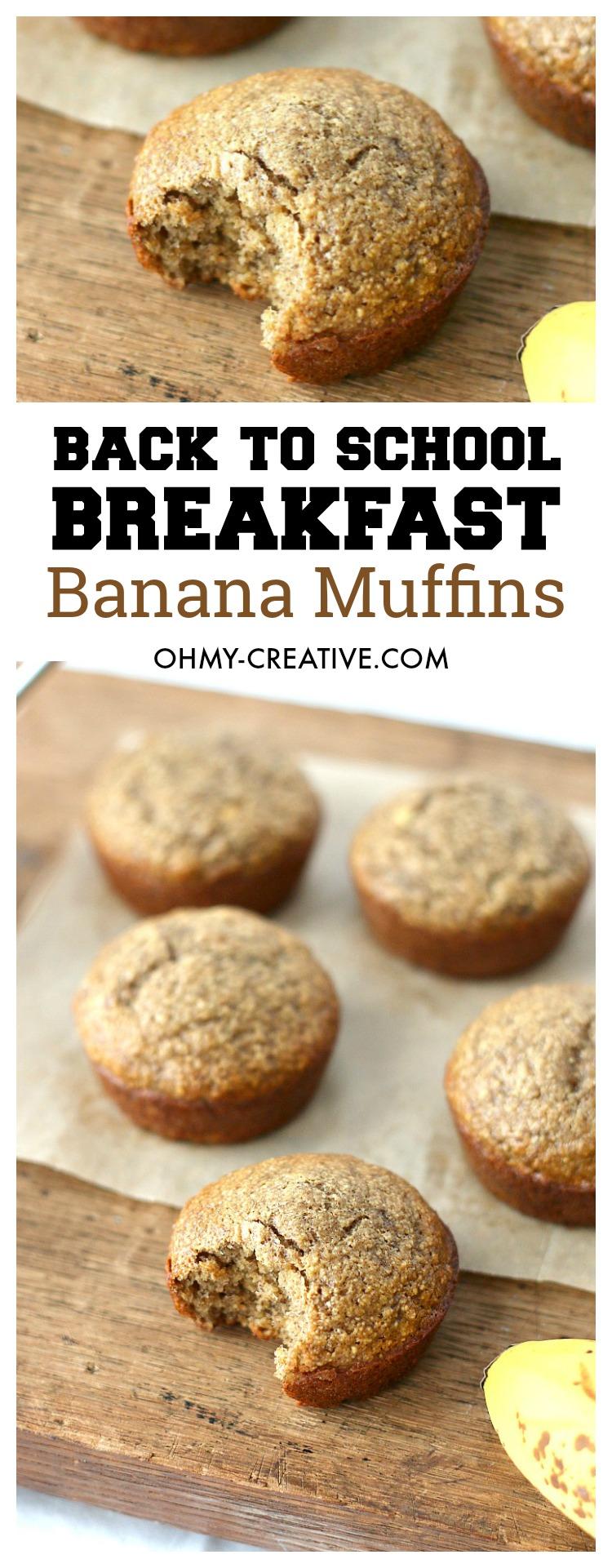 Banana Muffin Recipe   OHMY-CREATIVE.COM   Banana Muffins   Healthy Banana Muffins   Banana Muffins Recipe   Easy Banana Muffins   Breakfast Muffins   Breakfast ideas for Kids   Banana Muffins healthy   Back to school breakfast ideas