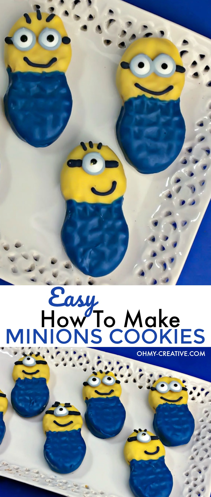 How to make Minions Cookies   OHMY-CREATIVE.COM   Minion Dessert   Minion Party   How to make Minion goggles   Minion Craft   Nutter Butter Cookies   Despicable Me