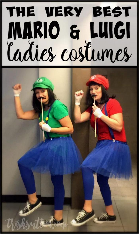 HOMEMADE MARIO & LUIGI LADIES HALLOWEEN COSTUMES - couples costumes