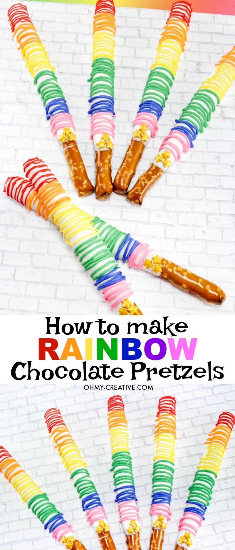 How To Make Chocolate Covered Pretzels With Rainbow Drizzel - Oh ...