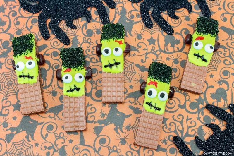 Frankenstein Cookies For Halloween - Halloween Party Treats made from store bought cookies