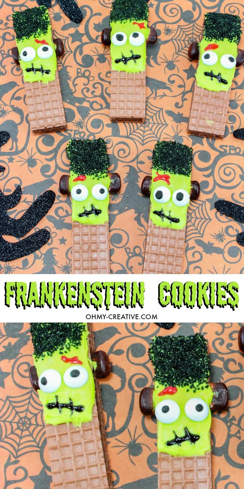 Frankenstein Cookies For Halloween   OHMY-CREATIVE.COM   Halloween Cookie Ideas   Halloween Cookies   Cute Frankenstein   Frankenstein's Monster   Green Frankenstein   Halloween Party Treats   Halloween School Treats