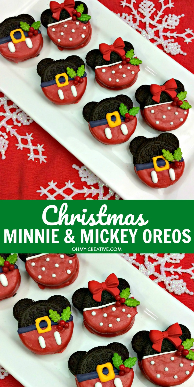 Christmas Minnie and Mickey Mouse Oreos | OHMY-CREATIVE.COM | mickey mouse cookies | Minnie Mouse Cookies | Mickey Mouse Snacks | Mickey Mouse Party Ideas | Mickey Mouse Theme Party | Oreo Cookies | Disney Cookies | Christmas Cookies | Chocolate Dipped Oreos