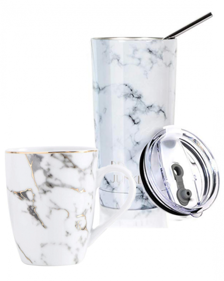 This marble coffee mug looks like a designer piece. The marbling is lovely on this stainless steal tumbler with straw as well!