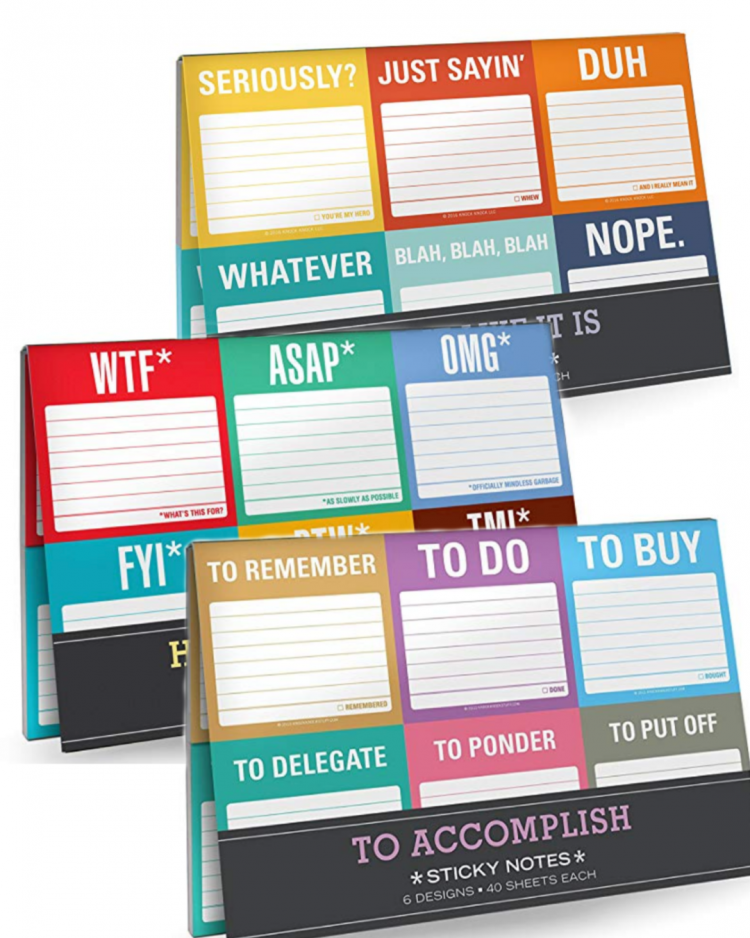 These funny sticky nots are great gifts for office mates, coworkers or anyone on your gift list!