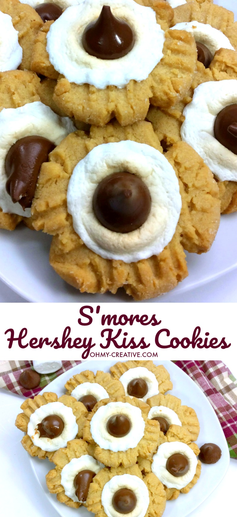 S'mores Hershey Kiss Cookies Recipe   OHMY-CREATIVE.COM   S'mores Cookies   Peanut Butter Blossom Cookies   Smores Dessert   Marshmallow Cookies   Peanut Butter Kisses