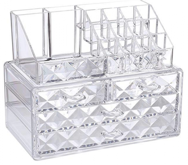 These stylish jewelry and cosmetic storage display boxes come in four colors. Clear shown.
