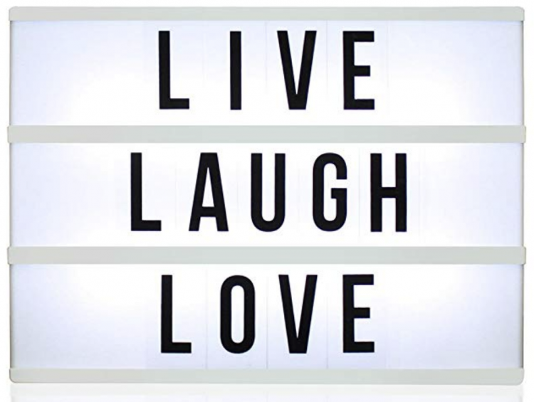 Fully customizable light box with letters and numbers. Light up your world with fun quotes!
