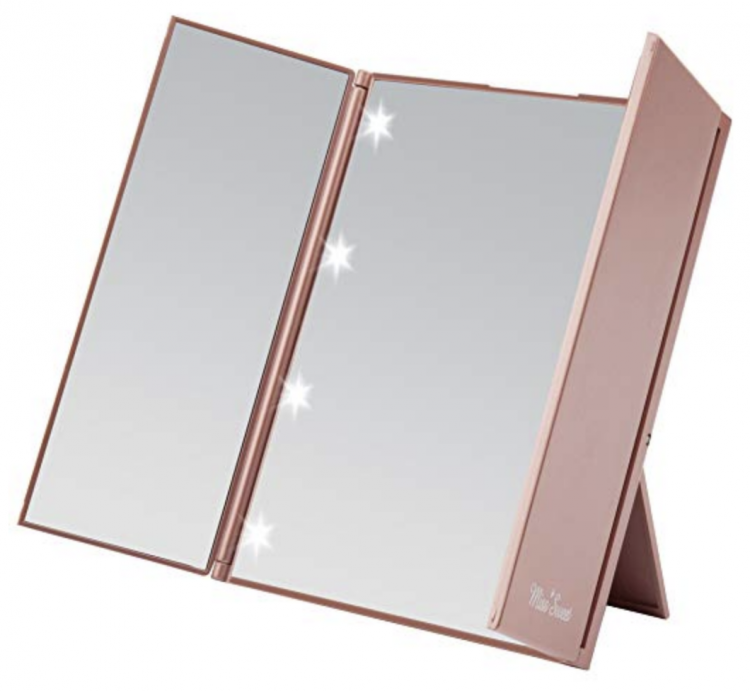 This small compact led lighted tri-fold makeup mirror makes a great travel mirror!