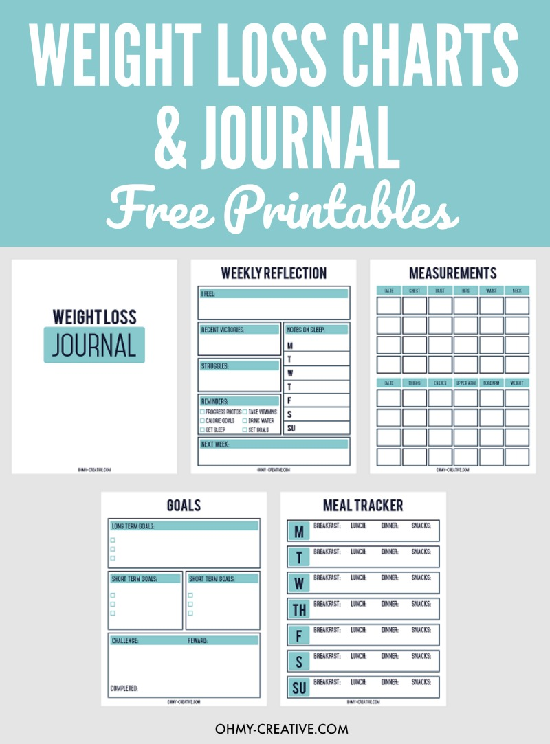 Printable weight loss chart and journal for weight loss success weight loss chart ohmy creative weight loss journal food tracker nvjuhfo Choice Image