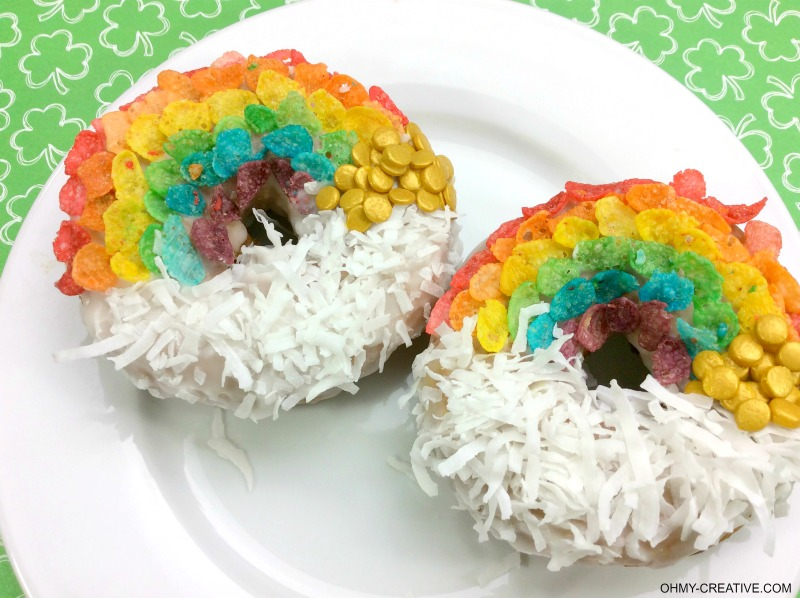 Rainbow Donuts   St. Patrick's Day Donuts   OHMY-CREATIVE.COM   St. Patrick's Day Donuts   St. Patrick's Day Food   St. Patrick's Day Party Ideas   St. Patrick's Day Desserts   St. Patrick's Day Treats   Doughnuts   Coconut Donuts