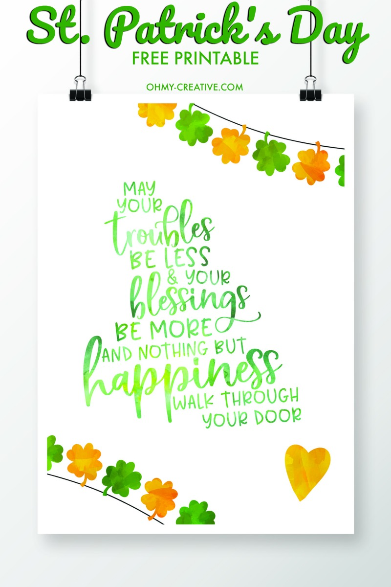 It's just a picture of Astounding St Patrick Day Free Printables