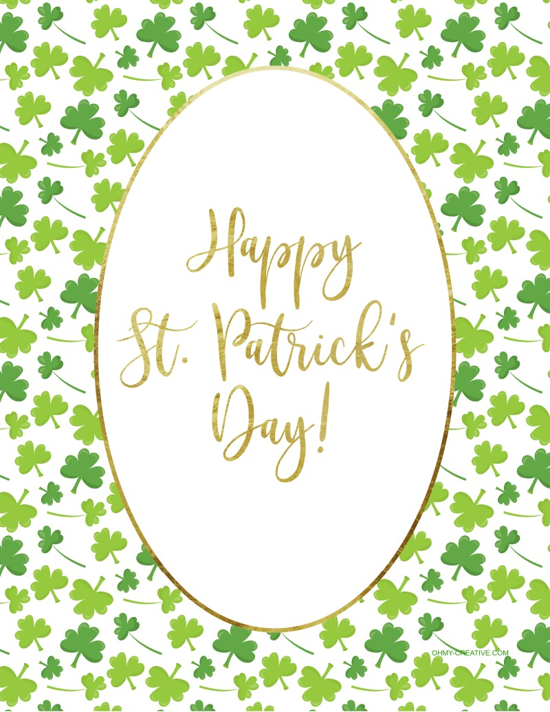 Happy St. Patrick's Day Saying with lots of small green shamrocks.