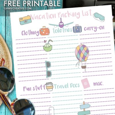 This Vacation Packing free printable is perfect as you prepare for your upcoming travels! OHMY-CREATIVE.COM | Travel Packing List | Vacation List | Printable Travel Packing List | Packing List #vacation #packinglist #travel #printable